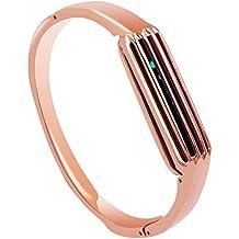 Pulsera de acero inoxidable Hagibis Accesorios para Fitbit Flex 2, Brazalete de plata pequeña (Oro Rosa)