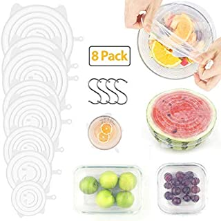 Silicone Stretch Lids,Atemto 8 Packs Stretch Lids of Bowl with Hook BPA Free Keeping Food Fresh Saver Covers, Reusable Durable and Expandable Fit Various Sizes and Shapes of Containers