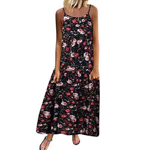 Damen Kleider Sommer Beiläufige ärmellose O-Ausschnitt Plus Größe Sexy Übergröße Kleider Strandkleid Blumendruck Nähte Kleid Polyester lässig Boho Maxi-Kleid (EU:42, Marine)