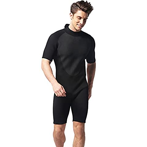 Neoprenanzug Herren von lintimes 3mm einem Stück Sun Schutz Marine Neoprenanzug Shorty Bademode für Tauchen Surfen Schnorcheln Schwimmen - schwarz - L