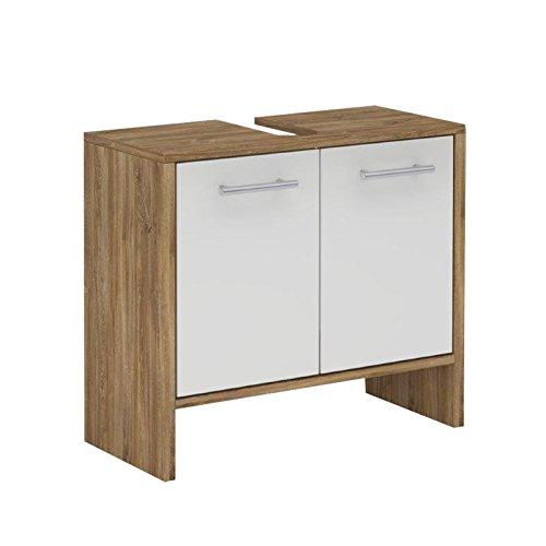Waschbeckenunterschrank Badschrank Waschtischunterschrank TOULOUSE, in Asteiche, Front weiß mit Glanz, 62 x 55 x 28 cm