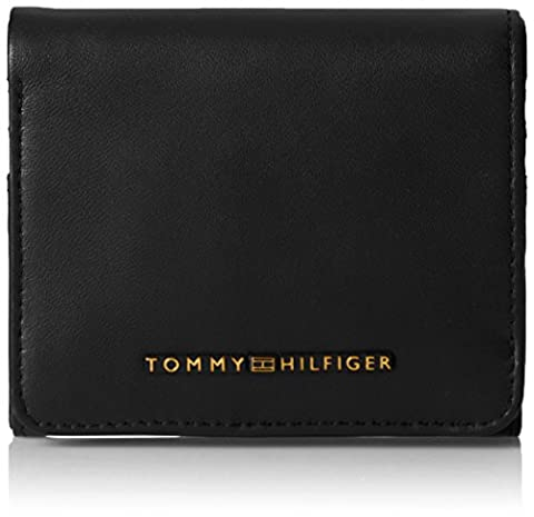 Tommy Hilfiger Leather Twist Mini Flap Wallet, Portefeuilles femme, Schwarz (Black), 2x10x9 cm (L x H P)
