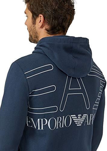 the best attitude 164d0 fc814 EA Felpa EA7 Emporio Armani 7 6ZPM45 Uomo Nero Cappuccio Zip Giacca Logo