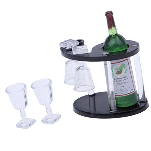 Baoblaze 1/12 Puppenhaus Esstisch Bar Zubehör - Miniatur Champagner Flasche + Weinregal + 4 Glases...