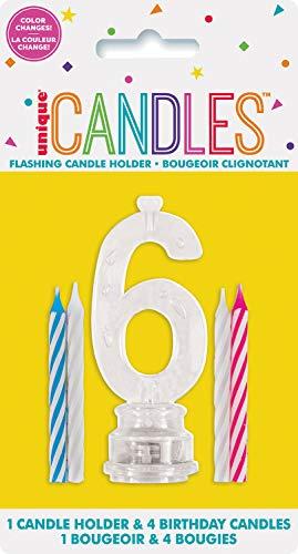 Unique, Farbwechselnde blinkende Geburtstagskerze Kerzenhalter mit 4Kerzen