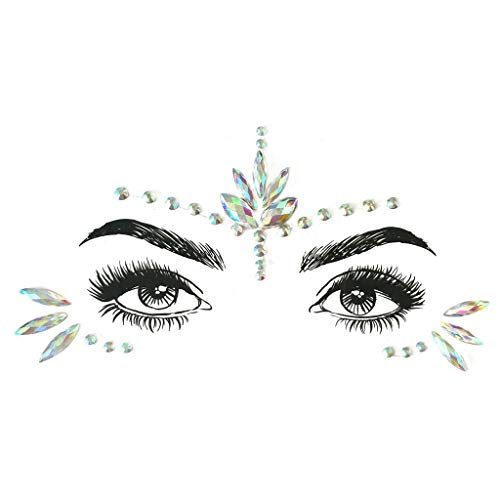 Amcool Gesicht Maske Edelsteine Klebstoff Glitter Jewel Hochzeit Festival Rave Party Karneval Body Make Up (J)