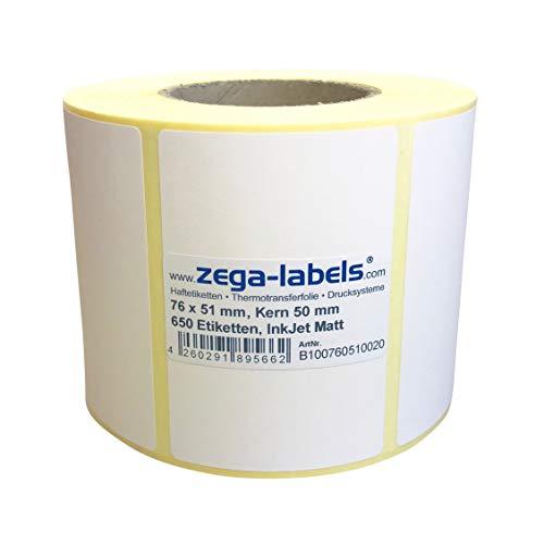 Inkjet Etiketten auf Rolle - 76 x 51 mm - 650 Stück je Rolle - Kern: 50 mm - Papier weiss matt - aussen gewickelt - permanent haftend - Druckverfahren: Ink Jet (Rollen Tintenstrahl Drucker)