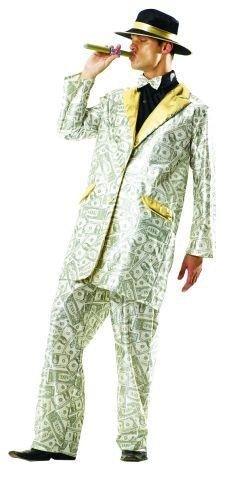 Foxxeo 10229 | Millionärskostüm Kostüm Millionär Pimp Maske Prolet Zuhälter Kohle Money Geld Grün Gr. STD, (Kostüm Geld)
