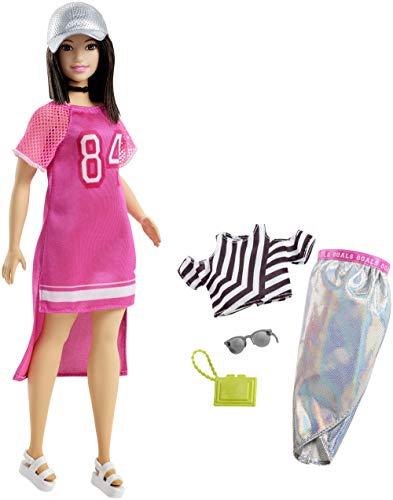 Barbie- Muñeca Fashionista Morena con Modas, Multicolor (Mattel FRY81)