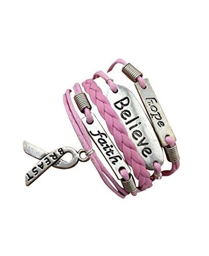 STRASS & PAILLETTES Bracelet Rose Ruban, Believe, Breast, Faith, Lutte Contre Le Cancer