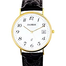 Gents 9ct Gold Wristwatch with Standard Numerals Date Black Leather