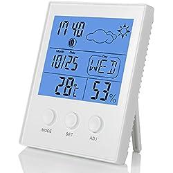 Fitfirst Termómetro Higrómetro Termohigrómetro Digital Reloj Despertador Retroiluminación Azúl Medidor Temperatura Humedad Interior Monitor LCD Pantalla Mostrar Tiempo, Fecha, Hora, Semana, etc.
