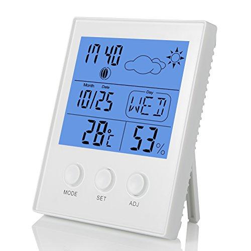 FITFIRST Thermomètre Hygromètre Electronique Digital Sans Fil A Pile avec Grand Ecran LCD Afficahge Lumineux Horloge Prévision Météorologique Pour Interieur et Exterieur
