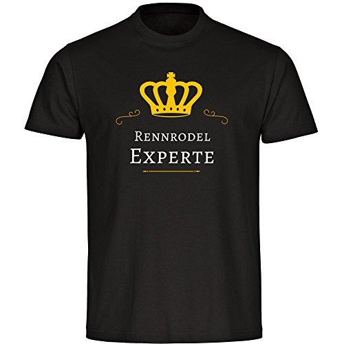 T-Shirt Rennrodel Experte schwarz Herren Gr. S bis 5XL, Größe:L