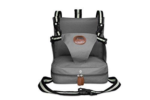 Imagen para KIDUKU® Trona portátil de bebés, cojín elevador para viaje, asiento portátil para niños (Gris)