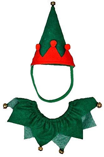 Rote und grüne Elf Pet Set - Hut und Halsband - Geeignet für Hunde & Katzen