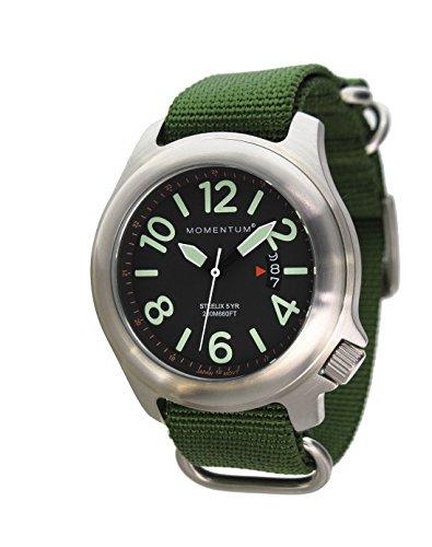 Steelix, orologio da campo di Momentum Watches | cristallo di zaffiro, quadrante nero, Orologio da uomo.