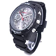 Reloj Cámara Espía Oculta Flylinktech 16GB HD 1080P Infrarrojo Impermeable, Correa Negro + Dial Negro