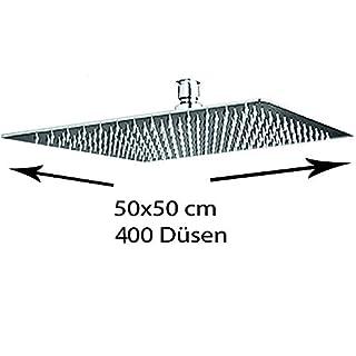 Grafner® XXXXL Duschkopf | 50 x 50cm | 400 Anti-Kalk-Düsen | edel verchromt | DIN-Anschluss | Kugelgelenk | Antikalkfilter | Regendusche | Brausekopf Dusche Regenbrause