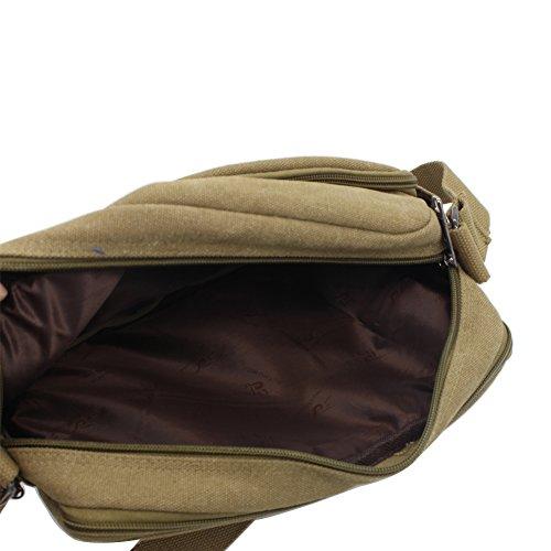 SHABEI Borse a Tracolla Uomo di Tela Borsa a Spalla Vintage Messenger Bag Canvas Sacchetto per Scuola Sport Outdoor il tempo libero Sportive Cachi