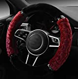 ADream Winter Warm Soft Plüsch Auto Lenkradabdeckung Universal Radabdeckung Universal (Farbe : Red)
