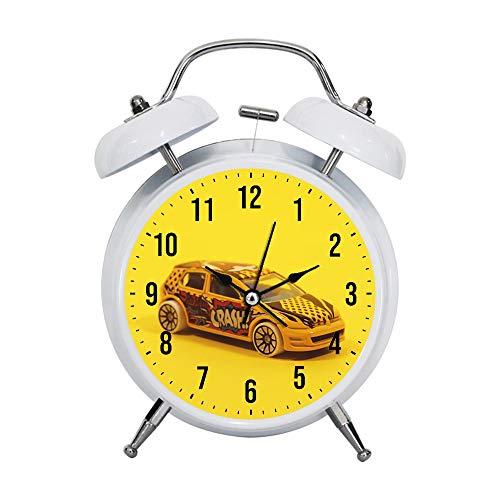 PGTASK Kinderwecker Retro Silent Pointer Uhren Wecker Starke Nachttische Leichte Hausdekorationen Gelb und Rot 5-Türer-Modell Hatchback -