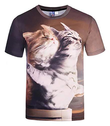 fb0290d0ba7c7b Pizoff Unisex Digital Print T Shirts - Schmale Passformmit Karikatur 3D  Katzen cat Muster