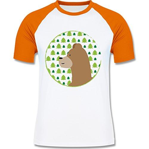 Wildnis - Tiermotiv Bär - zweifarbiges Baseballshirt für Männer Weiß/Orange