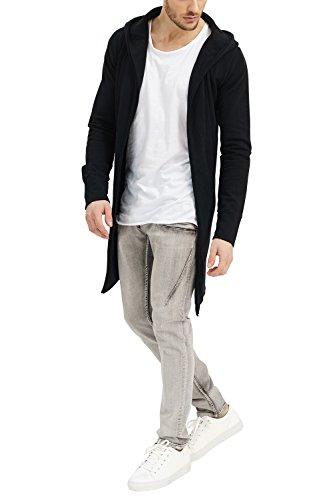 trueprodigy Casual Homme Veste Sweat uni Basique, Vetements Swag Marque a Capuche (Manche Longue & Slim fit Classic), Cardigan Mode Fashion Couleur: Noir 2562101-2999-XXL
