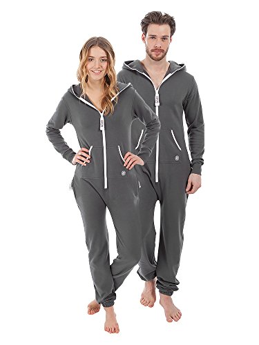 ZIPUPS Unisex Jumpsuit Summer Thin Clean Cut ZU Overall Homewear Outdoor grau L