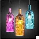 Lámpara Colgante moderno Minimalista moderno de color creativos Cafe Bar botella de vino candelabros de vidrio único restaurante con tres cabezas ,90*265mm candelabros, amarillo