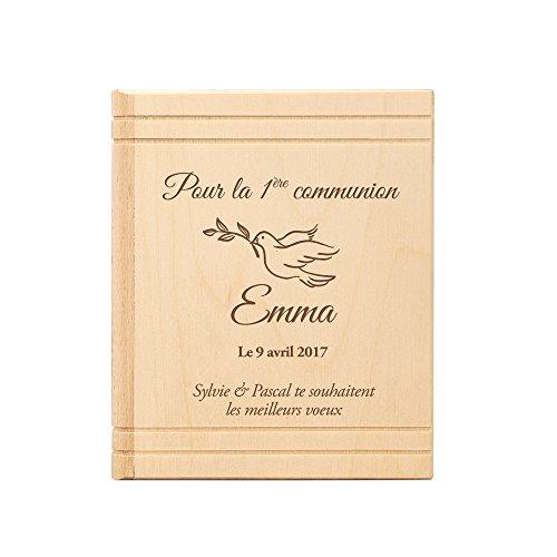 Tirelire en forme de Bible en bois - Avec gravure pour la communion - Personnalisée avec nom et date - Motif colombe - Tirelire en bouleau comme idée cadeau - Tirelire comme cadeau de communion