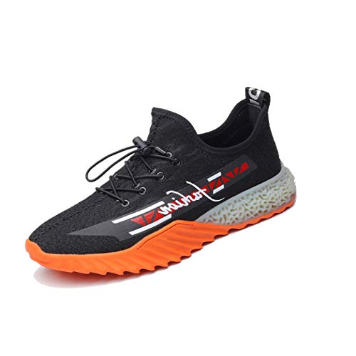 RSHENG Obermaterial aus fliegendem Gewebe für Herren ohne innere Gummisohle Atmungsaktiv verschleißfeste rutschfeste schwarze Laufschuhe -