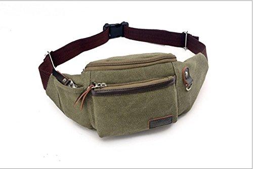 Swallowuk Herren-Outdoor-Taschen, lässige Multifunktions-Leinwandtaschen (Braun) Armeegrün