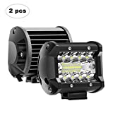 La Barre Lumineuse D'AAIWA LED, 4 Lumières 60W D'Inondation De Travail Menées par 12W 24V De Voiture De Route Ip67 2 Pcs pour Le Bateau De Camionnette 4X4 ATV Utv
