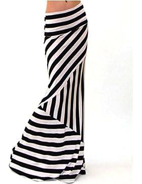 Faldas Altas De Cintura AsiméTricas Faldas Rayas Mujer Casuales Falda Tubo Larga Falda Sirena De Verano LHWY