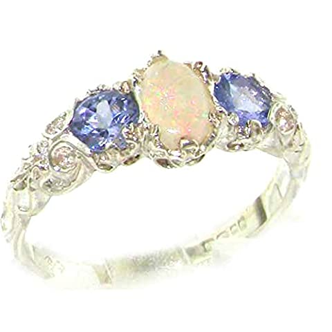 Ladies Solid Sterling Silver Natural Opal & Tanzanite English Victorian Trilogy Ring - Size M - Finger Sizes L to Z Available - Perfect Gift for Mum, Wife, Daughter, Grandaughter,