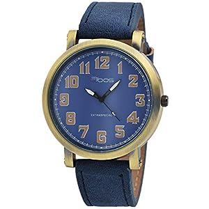 Qbos Herrenuhr Blau Gold Analog Metall Kunstleder Quarz Armbanduhr