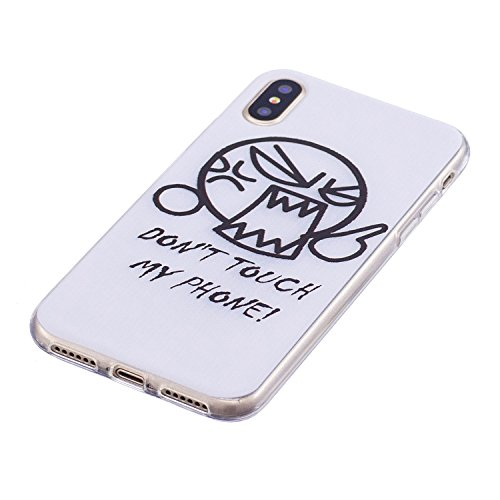 Cover IPhone X 2017 Custodia, Mosoris Ultra Sottile Morbido TPU Silicone Posteriore Corpeture Flessibile Trasparente Cristallo Gomma Gel Case Antiurto Protettiva Caso Anti Graffio Protezione Shell Leg Espressione arrabbiata
