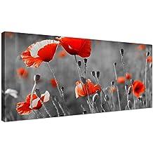 Grande blanco y negro lienzo de amapolas rojas diseño de flores barato lienzo imágenes–1135–Wallfillers®