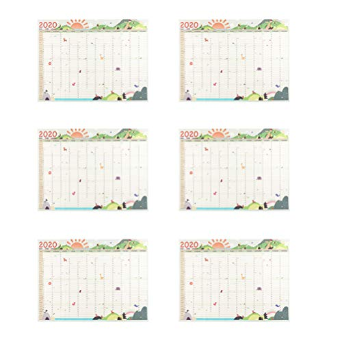 STOBOK 6pcs 2020 Hanging Calendar Planner Monthly Wall Calendar Academic Study Stationery for Office School Home Decoration (Style 4)