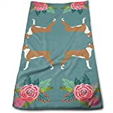 BAOQIN Long-Lasting Quality,Quickly Absorbs Moisture Stylish Asciugamano Boxer with Flowers,Florals, Pet Dog Print Bath Asciugamanos for Bathroom-Hotel-Spa-Kitchen-Set - Circlet Egyptian Cotton - Hig