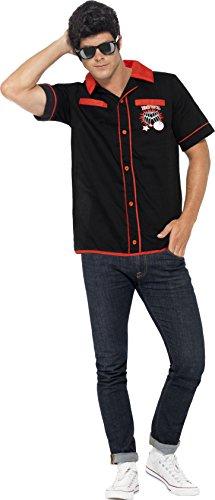 Smiffys, Herren 50er Bowling Shirt Kostüm, Hemd, Größe: M, (Kostüme Bowling Shirt Erwachsene)