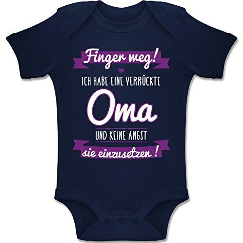 Shirtracer Sprüche Baby - Ich Habe eine Verrückte Oma Lila - 3-6 Monate - Navy Blau - BZ10 - Baby Body Kurzarm Jungen Mädchen