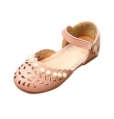 NiSeng Filles Creux Sandales Mode Plat Princess Sandals Fête Sandales Rose