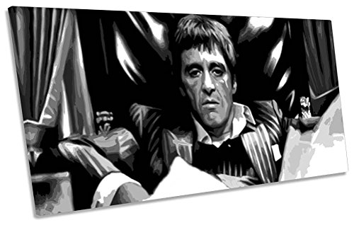 a Box Rahmen Leinwand Kunstdruck Panorama Bild, 180cm wide x 90cm high (Scarface Tony Montana)