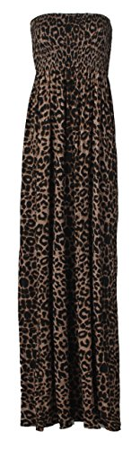 Fast Fashion Maxi vestito da donna, in stile azteco/tribale/animalier Leopard Braun
