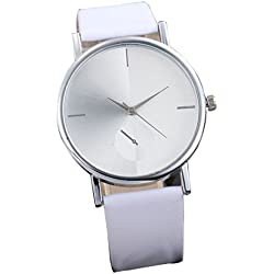 FEITONG Fashion Design Dial Analog Quartz Wrist Watch Simple Style White