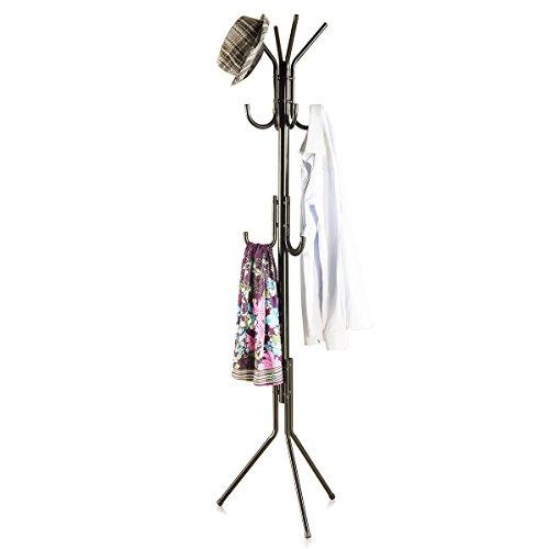 173CM Metall Regal Garderobenständer Kleiderständer Freistehender Halle Baum mit 3 Ebenen und 11 Haken für Kleidung Schals Taschen Regenschirm und Hüte Garderobe Aufhänger45173-2 (schwarz)