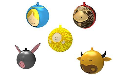 Alessi Weihnachtsbaumkugeln 5-er Set -Gesu, Bambino, Madonna, Giuseppe, Bue, Asinello